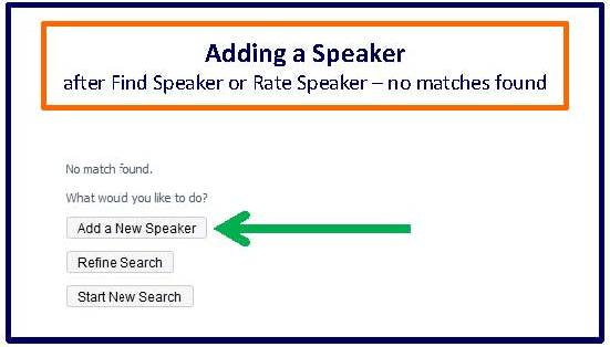 Adding speaker after find-rate speaker no matches found